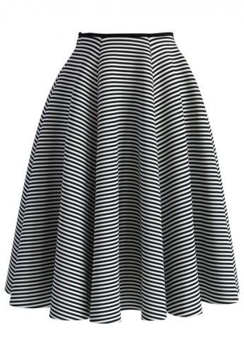 Chic Stripes Airy Full Midi Skirt - Retro, Indie and Unique Fashion