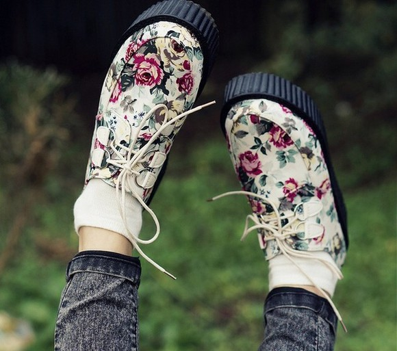 ivory shoes floral loafers