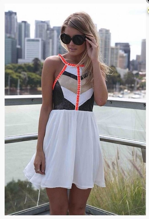dress prom dress orange peach white black summer girl gold prom prom summer dress summer dress clothes short prom dress bag fashion cute dress