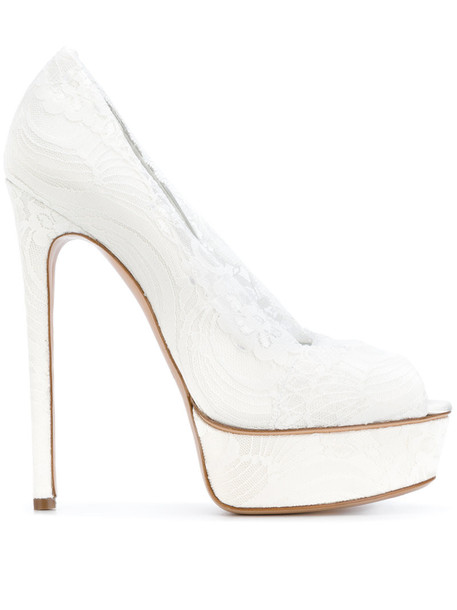 CASADEI women pumps platform pumps lace leather white satin shoes