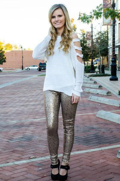 sweater cut-out shoulder sweater white sweater leggings gold leggings high heels black high heels fall outfits cut out shoulder fall sweater