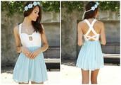 dress,chiffon,white,light blue