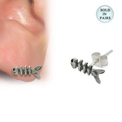 .925 sterling silver fish bone stud earrings