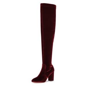 Burgundy Boots Chunky Heel Over-the-Knee Velvet Long Boots