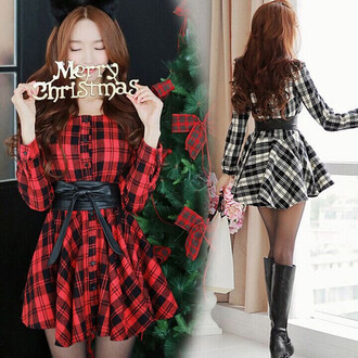 dress black red white belt plaid kawaii long sleeves cute girly skater skirt