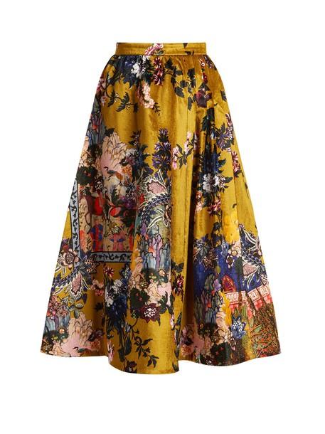 Erdem skirt midi skirt midi floral print velvet gold