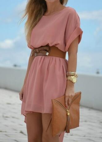 dress pink dress pink gold chiffon summer fashion bag belt clothers dress clothes see through dress cute dress brown belt sweater vintage girly summer dress summer outfits nude clutch sunglasses fashion outfits tumblr tumblr girl giels cute rose robe maternity dress short sleeve style hat peach dress