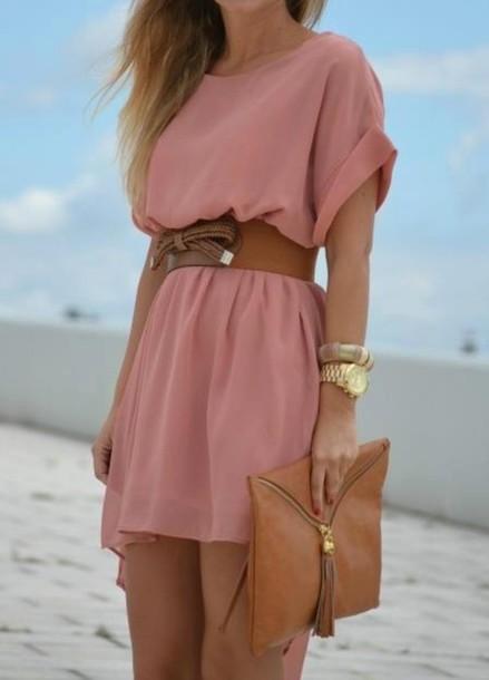 Dress pink gold chiffon summer fashion bag belt clothers dress - Wheretoget