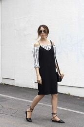 dress,cold shoulder,black slip dress,slip dress,black dress,top,striped top,off the shoulder top,sandals,black sandals,bag,black bag,spring outfits,sunglasses,aviator sunglasses,streetstyle