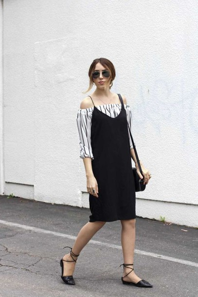 dress cold shoulder black slip dress slip dress black dress top striped top off the shoulder top sandals black sandals bag black bag spring outfits sunglasses aviator sunglasses streetstyle