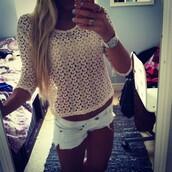 shirt,lace,short,short shorts,summer,crochet,holes,top,bottoms,fall outfits