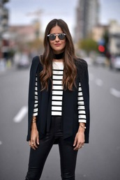 jacket,white striped shirt,sunglasses,black blazer,leather pants,blogger,black choker
