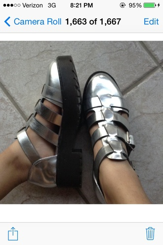shoes buckles black/metallic silver grunge chunky heels fisherman platforms flat gladiator sandals