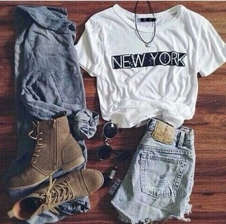 shirt new york city shorts boots sunglasses lipstick fashion outfit outfit idea girl beautiful