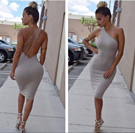 One Shoulder Strappy Bandage Dress Nude