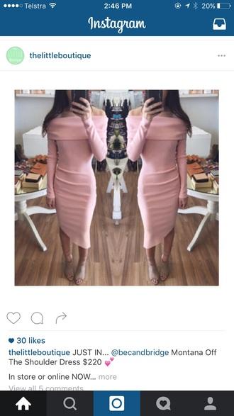 dress long sleeves pink off the shoulder