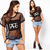 Womens Letter Print Blouse See Through Gauze Punk Short Sleeve Tops Crop T Shirt | eBay