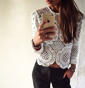 blouse white lace long sleeve
