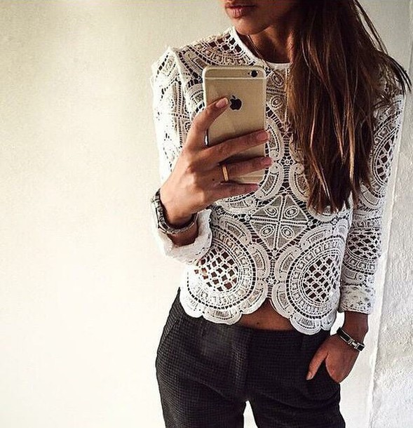 blouse white lace long sleeves