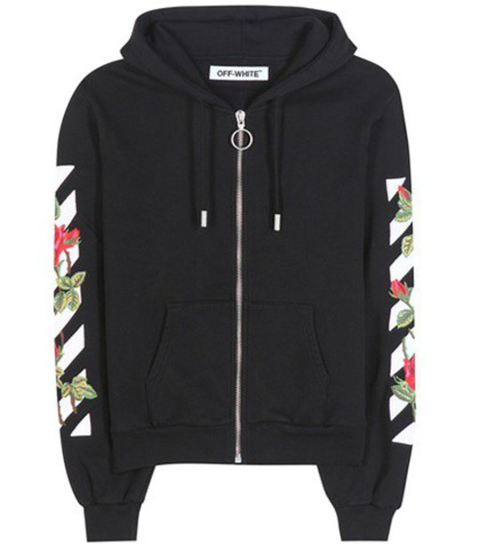 Off-White Embroidered Cotton Sweatshirt in black