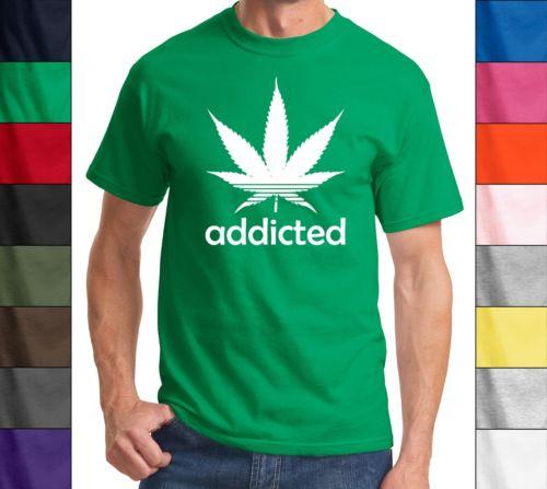Addicted Marijuana Plant Funny T Shirt 420 Cannabis Weed Pot Dope Stoner Khalifa | eBay