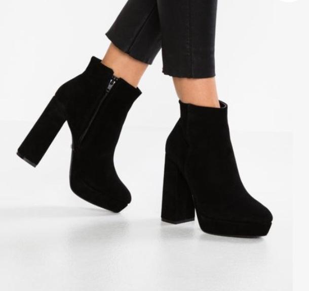shoes black heel heels boots high heel ankle boots botines high heels boots