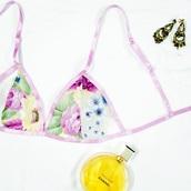 underwear,bra,floral,bralette,soft cup bra,triangle bra,bride bra,lingerie,floral bralette,purple flower,feminine lingerie,flowers,sheer,serthru,sexy,girly,bikini,summer,spring