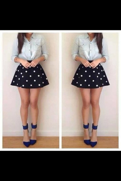 shoes blue shoes office shoes pointed black white skirt poka dot