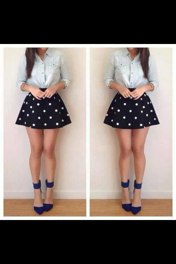 shoes blue shoes office shoes pointed toe black white skirt polka dots