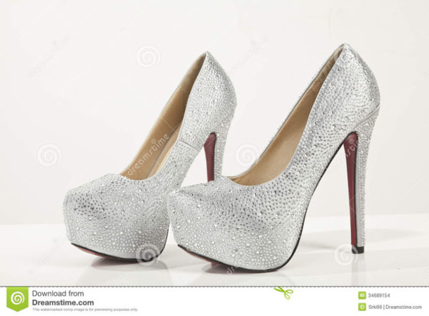 530cd392b4e Silver Wedding Bridal Shoes Glitter Diamonds Platform Prom Party .