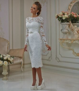 dress long sleeve dress wedding dress wedding short wedding dress tea length dresses short dress lace dress bride dresses white dress white ivory dress