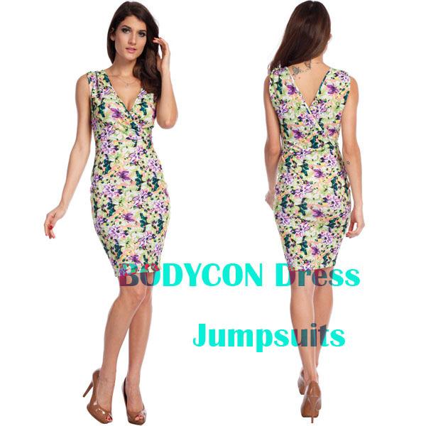 2014 Fashion Women Glam Bodycon Above Knee V Collar Sleeveless Colorful Tank Flower Print Dress Party Club Free shipping b40349 | Amazing Shoes UK