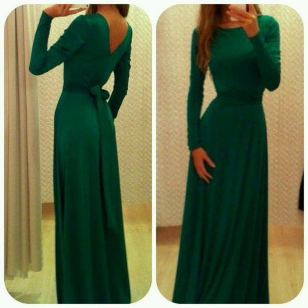 dress emerald green dress long sleeves