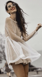 dress,organza,organza dress,gauze,beige,white,transparent,elegant,celebrity,grunge,hipster,romantic,prom