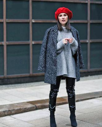 coat tumblr leopard print sweater grey coat printed coat knit knitwear knitted sweater grey sweater beanie boots