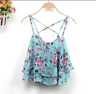 top floral blue fashion style summer spring criss cross crop tops beautifulhalo blue crop top