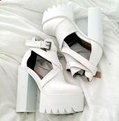 shoes,white shoes,high heels,white,white high heels,beautiful,chunky heels,buckles,platform shoes,cleated sole,white.,heel,heels,cut out ankle boots,platform high heels,chunky boots,chunky,chunky sole,jeffrey campbell,sexy shoes,pink by victorias secret,boots,chunky platform,white boots,heel boots,chunky heel,white heels,white platforms,white platform cutout heels,grunge boots,gloves,tumblr,pattern,pretty,trendy,a portable package,blogger,glove heels,yellow shoes,pants,white pants,adidas shoes,white sneakers,love,dress,wedding dress