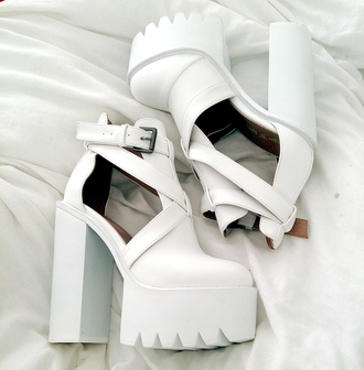 shoes white chunky heels pattern high heels heels pretty trendy
