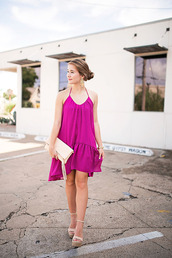 a lonestar state of southern,blogger,dress,shoes,jewels,bag,purple,purple dress,pink dress,halter dress,statement necklace,clutch,nude,wedges,date outfit