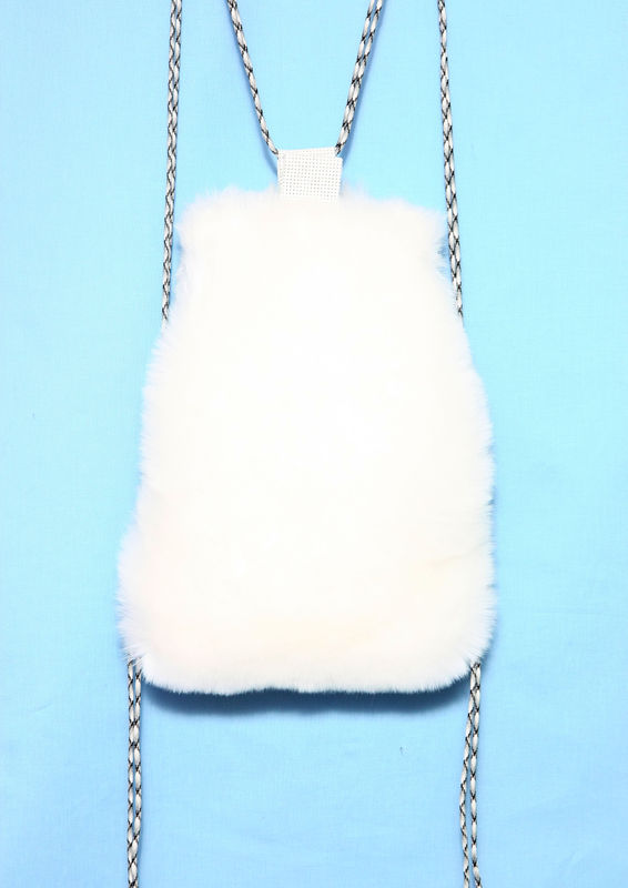 WHITE FUR BACKPACK - SOMEWHERE NOWHERE