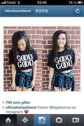 shirt,good,good good,chanel,black,tummy shirt,street,style,fashion,asian