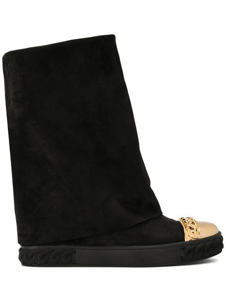 CASADEI women leather suede black shoes