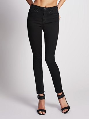 High-Rise Ankle Super-Skinny Jeans - Black | GbyGuess.com