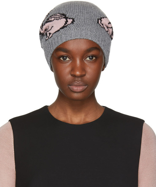 Prada beanie pink grey hat