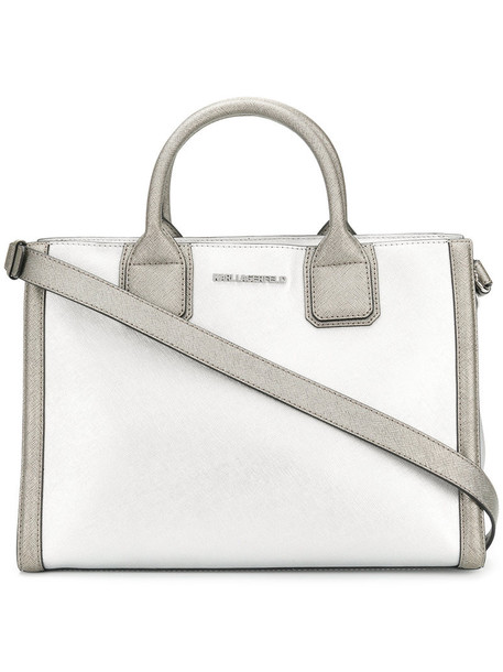 karl lagerfeld women leather grey metallic bag