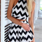 Stripe crop top & high waist short suit|disheefashion