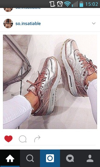shoes gold rose metallic shoes nike shoes air max nike pink