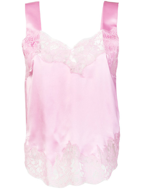 Givenchy top embroidered women lace cotton silk purple pink