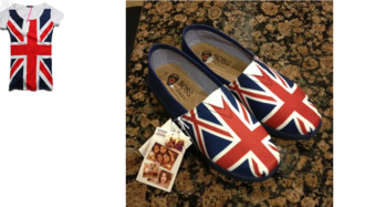 shoes shirt union jack british british flag flag one direction top t-shirt toms bobs matching patriotic colorful footwear sketchers