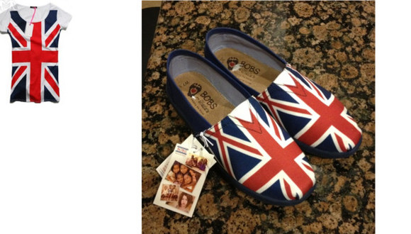 shoes toms bobs shirt union jack british british flag flag one direction top t-shirt matching patriotic colorful footwear sketchers